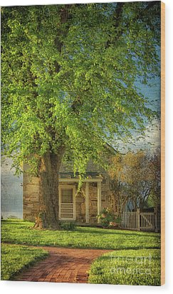 The Stone Cottage On A Spring Evening Wood Print by Lois Bryan