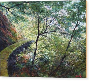 The Stone Wall Wood Print by Jim Gola