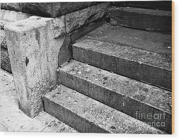 The Stoop Mono Wood Print by John Rizzuto