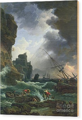The Storm Wood Print by Claude Joseph Vernet