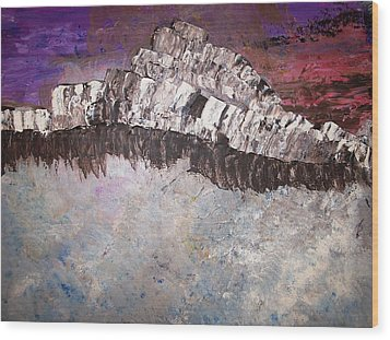 The Stormy Sea Shore Wood Print by Roy Penny