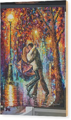 The Story Of The Umbrella Wood Print by Leonid Afremov