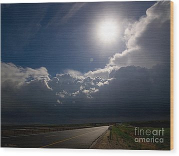 The Straight Way To The Storm Wood Print by Arik Baltinester
