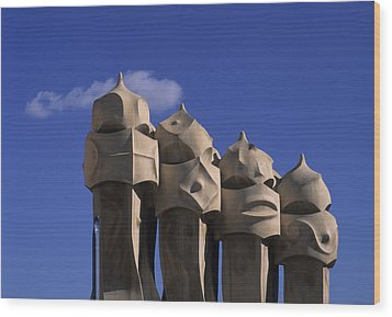 The Strangely Shaped Rooftop Chimneys Wood Print by Taylor S. Kennedy