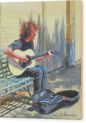 The Street Guitarist Wood Print by Dominique Amendola