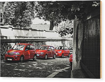 Wood Print featuring the photograph The Street Of Red Cars by Jenny Rainbow