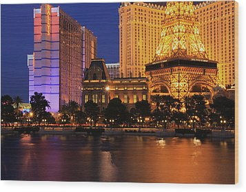 The Strip At Night 1 Wood Print by Don MacCarthy