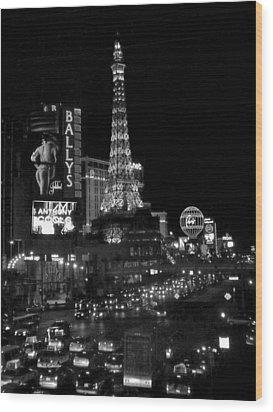 The Strip By Night B-w Wood Print by Anita Burgermeister