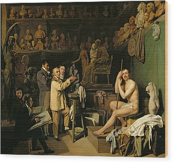 The Studio Of Jean Antoine Houdon Wood Print by Louis Leopold Boilly