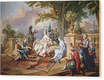The Sultana Served By Her Eunuchs Wood Print by Charles Amedee Philippe van Loo
