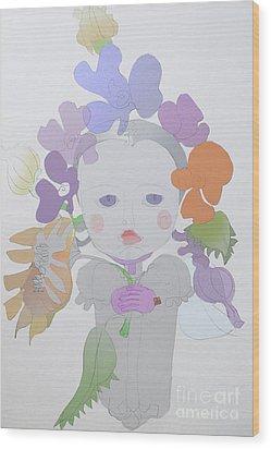 The Sun Flower Child Fairy Wood Print by Iordache Alice