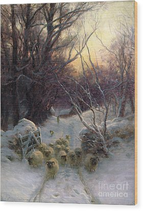 The Sun Had Closed The Winter Day Wood Print by Joseph Farquharson
