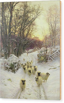The Sun Had Closed The Winter's Day  Wood Print by Joseph Farquharson