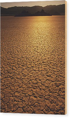 The Sun Reflects Off This Parched Lake Wood Print by Bill Hatcher