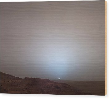 The Sun Setting Below The Rim Of Gusev Wood Print by Nasa