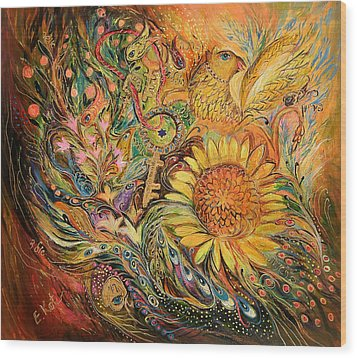 The Sunflower Wood Print by Elena Kotliarker
