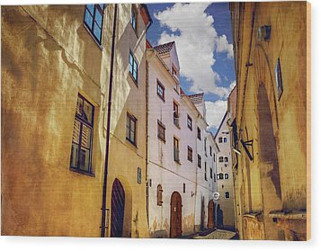 Wood Print featuring the photograph The Sunny Streets Of Old Riga  by Carol Japp