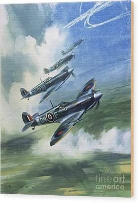 The Supermarine Spitfire Mark Ix Wood Print by Wilfred Hardy
