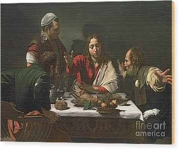 The Supper At Emmaus Wood Print by Caravaggio