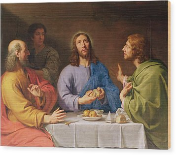 The Supper At Emmaus Wood Print by Philippe de Champaigne