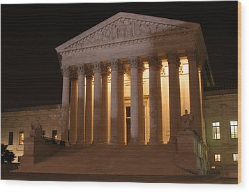 The Supreme Court Building At Night Wood Print by Brian M Lumley