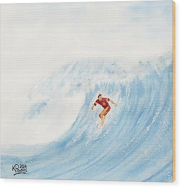 The Surfer Wood Print by Ken Powers