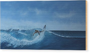 The Surfer Wood Print by Paul Newcastle