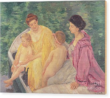 The Swim Or Two Mothers And Their Children On A Boat Wood Print by Mary Stevenson Cassatt