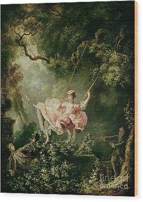 The Swing  Wood Print by Jean-Honore Fragonard