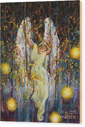 The Swinging Angel Wood Print