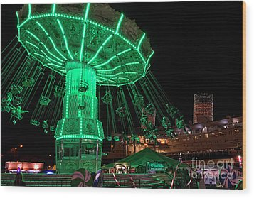 The Swings At Queen Mary's Chill Wood Print by Eddie Yerkish