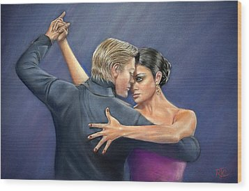 Tango Wood Print by Rosemary Colyer