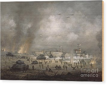 The Tanks Go In - Sword Beach  Wood Print by Richard Willis