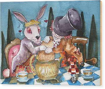 The Tea Party Wood Print by Lucia Stewart