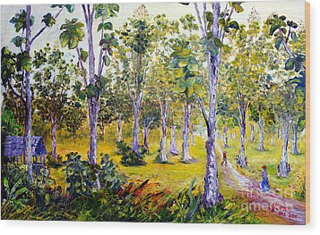 Wood Print featuring the painting The Teak Garden by Jason Sentuf