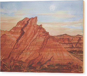 Wood Print featuring the painting The Teepees by Ellen Levinson