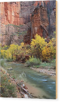The Temple Of Sinawava In Zion National Park Wood Print by Pierre Leclerc Photography