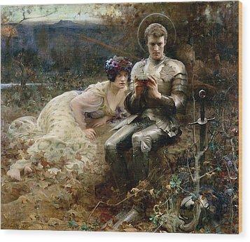 The Temptation Of Sir Percival Wood Print by Arthur Hacker