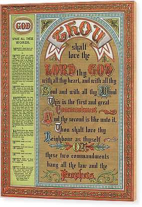 The Ten Commandments Wood Print by Pg Reproductions