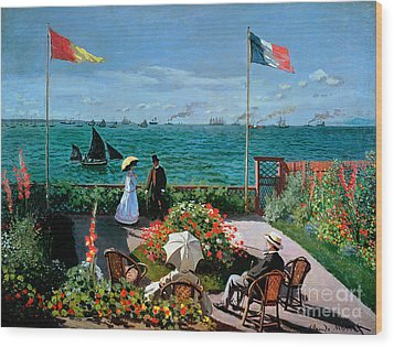 The Terrace At Sainte Adresse Wood Print by Claude Monet