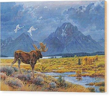 The Teton Trio Wood Print by Steve Spencer
