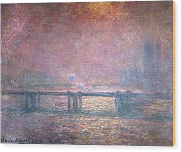 The Thames At Charing Cross Wood Print by Claude Monet