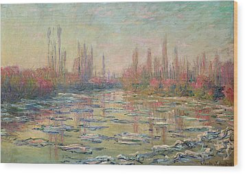 The Thaw On The Seine Wood Print by Claude Monet