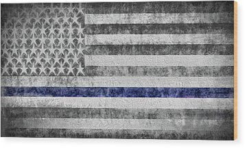 Wood Print featuring the digital art The Thin Blue Line American Flag by JC Findley