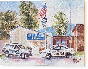Wood Print featuring the painting The Thin Blue Line by Kip DeVore