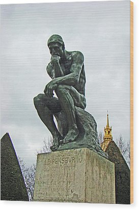 The Thinker By Rodin Wood Print