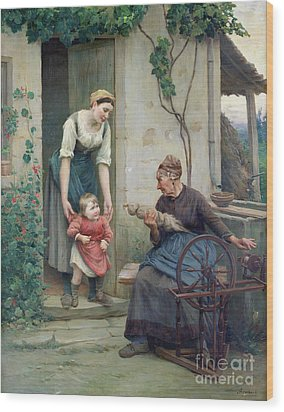 The Three Ages Wood Print by Jules Scalbert