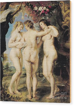 The Three Graces Wood Print by Peter Paul Rubens