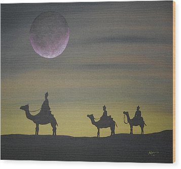 Wood Print featuring the painting The Three Kings by Edwin Alverio