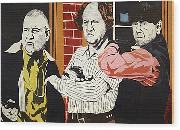 Wood Print featuring the painting The Three Stooges by Thomas Blood